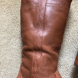 White Mountain Shoes - White Mountain Cognac leather zip Law riding boots